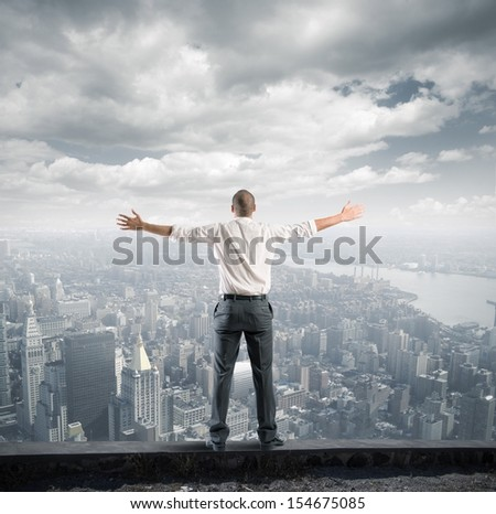Concept of success of a freedom businessman - stock photo