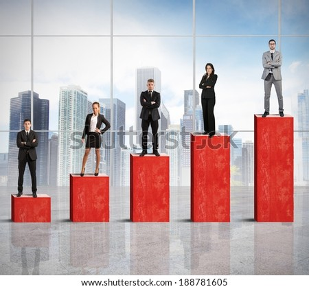 Concept of successful team with growing statistics - stock photo