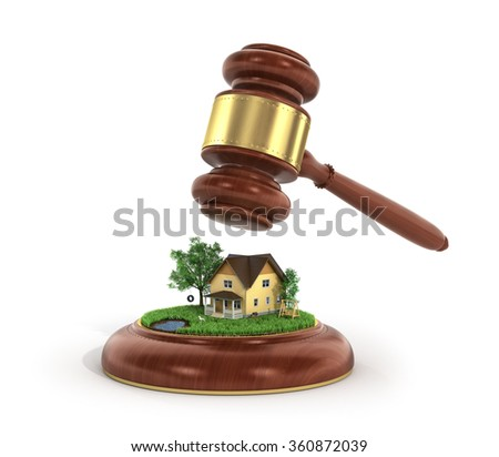 Concept of suing for property. 3d illustration of wooden gavel with house and trees on a grass. - stock photo