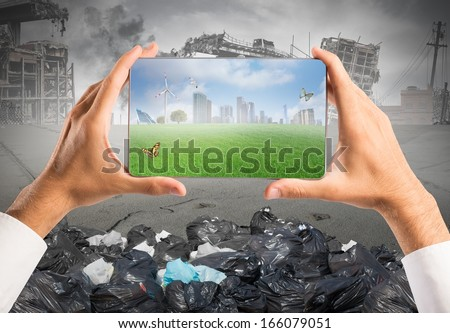 Concept of sustainable development with green vision in a tablet - stock photo
