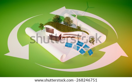Concept of sustainable living - modern style organic shape building with grass roof and independent energy source. - stock photo