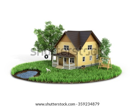 Concept of sweet home. House with on the grass with trees on the island is flying on a white background. - stock photo