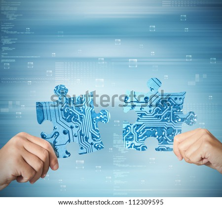Concept of system integration of two partner - stock photo