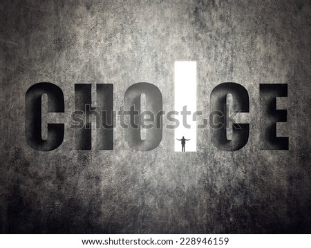 Concept of target, goal, will etc, man stand on wall with text. - stock photo