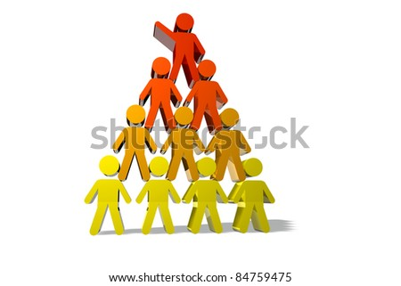 Concept of teamwork and partnership in yellow and red color - stock photo