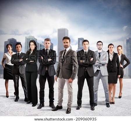 Concept of teamwork and partnership with a group of businessperson - stock photo