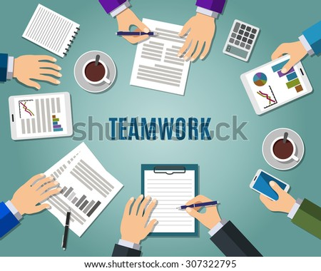Concept of teamwork consulting on briefing, group of people planning, brainstorming idea of company strategy. Flat design style modern illustration - stock photo