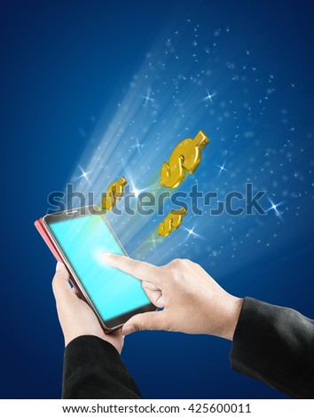 concept of technology and business with woman hand is touching on touchscreen of smart phone to make money, include path