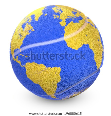 Concept of tennis ball with a printed world that shows nations. - stock photo