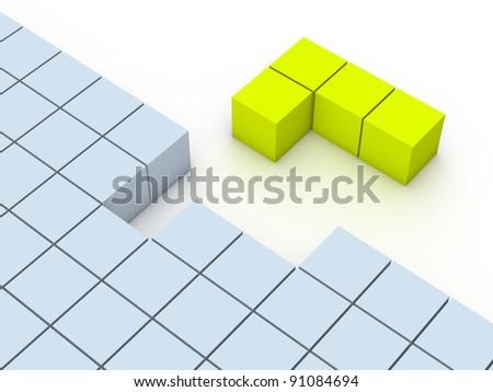 Concept of tetris game - stock photo