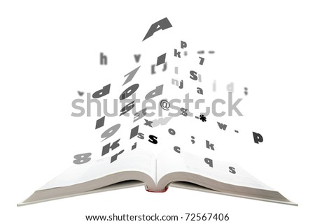 concept of text fly form text book - stock photo