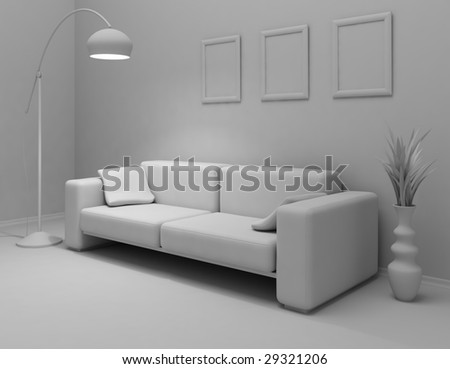 concept of the home interior in grey color - stock photo