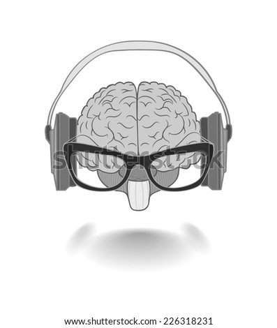 Concept of the human brain with glasses enjoyer music from the headphones - stock photo