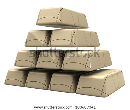 concept of the marble bars 3d white background - stock photo