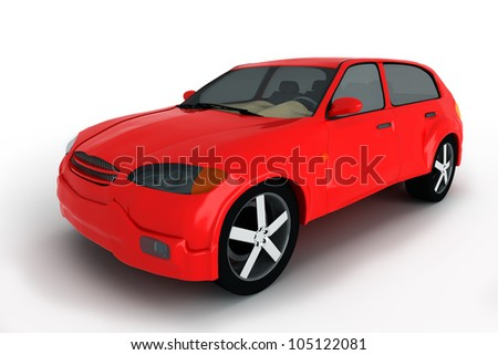 concept of the red crossover car isolated on a white background.