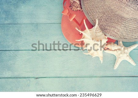 Concept of the summer time with sea shells on the wooden blue background - stock photo