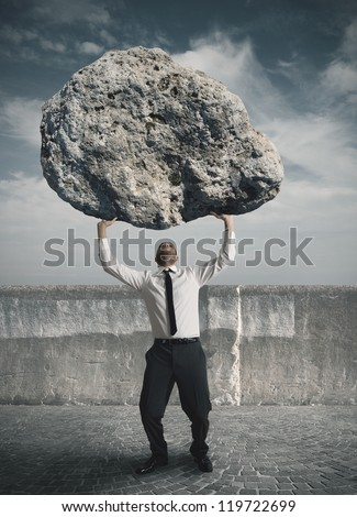 Concept of the weight of the stress - stock photo