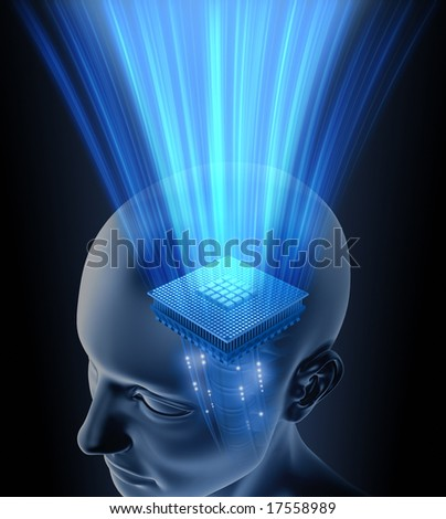 Concept of thinking. Your brain is your processor. You can put your text on the rays. - stock photo