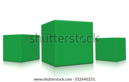 Concept of three 3d green boxes isolated on white background. Rendered illustration.