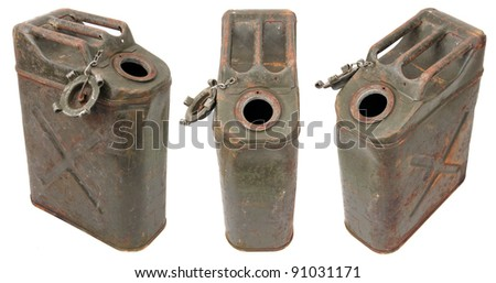 concept of three rusty jerrycans - stock photo