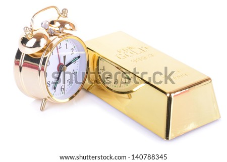 concept of time is money isolated on white background - stock photo
