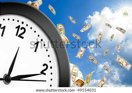 Concept of time is money.  Welcome! More similar images available. - stock photo