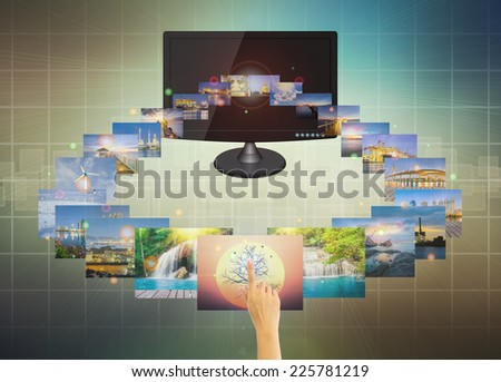 Concept of touch multimedia on mobile with modern dark background. - stock photo