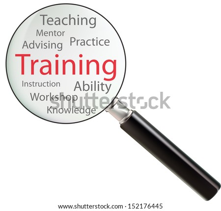 Concept of training consists of ability, advising, practice, mentor, teaching, workshop, instruction and knowledge
