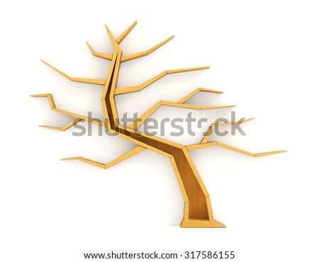 Concept of training. Empty bookshelf in form of tree. Science about nature. Ecology. Have no knowledge about environment nature. - stock photo