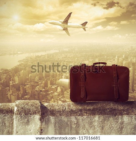 Concept of travel by airplane - stock photo