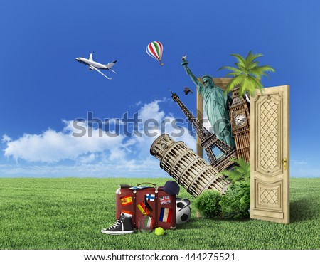 Concept of travel. Door with picture of world attractions on nature background. In the  sc 1 st  Shutterstock & Concept Travel Door Picture World Attractions Stock Photo u0026 Image ...