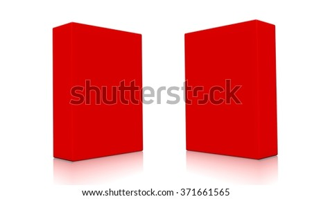 Concept of two 3d red boxes isolated on white background. Rendered illustration. - stock photo
