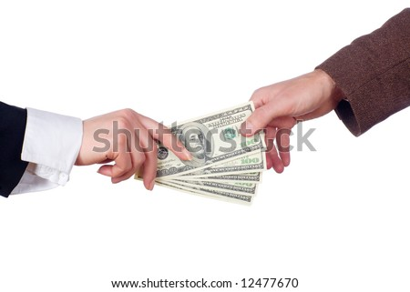 Concept of two people fighting over money / business transaction / giving & taking money / shopping / divorce / power struggle / etc. - stock photo