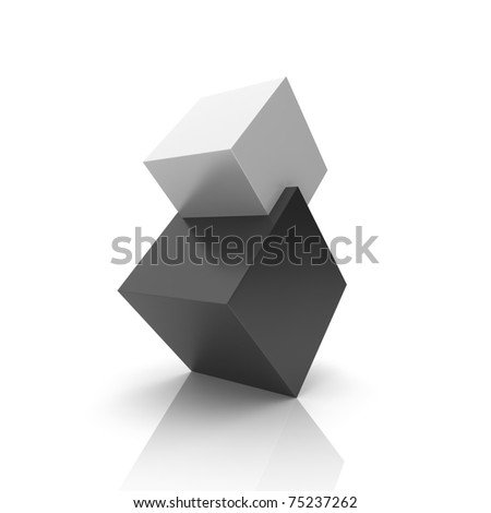 Concept of union with black and silver cubes (black collection) - stock photo