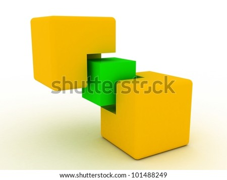 Concept of unity with cubes , 3D images - stock photo
