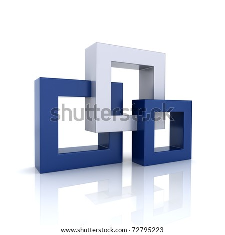 Concept of unity with 3 frames (blue collection) - stock photo