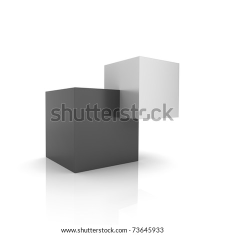 Concept of unity with two cubes (black collection) - stock photo