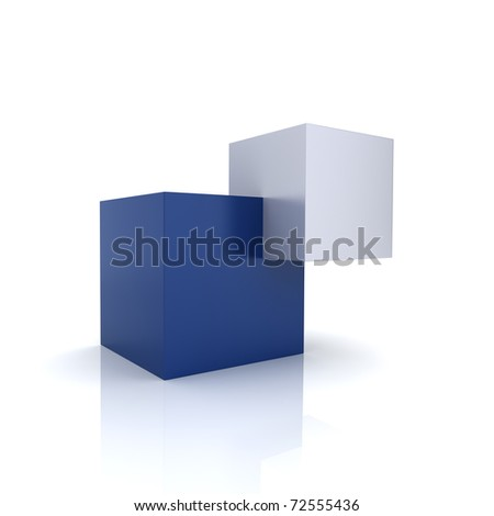 Concept of unity with two cubes (blue collection) - stock photo