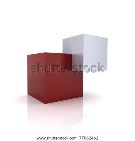 Concept of unity with two cubes (red collection) - stock photo