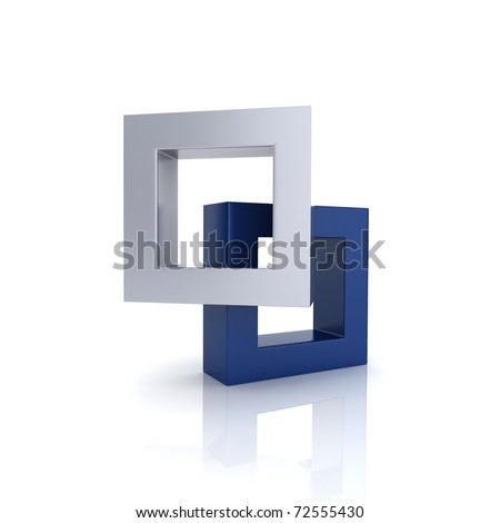 Concept of unity with two frames (blue collection) - stock photo