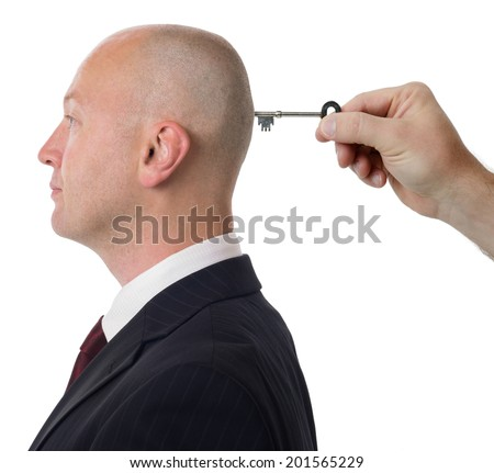 concept of unlocking the mind isolated on a white background - stock photo