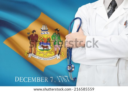 Concept of US national healthcare system - state of Delaware - stock photo