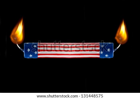 Concept of USA flag representing America burning candle at both ends economics or political commentary - stock photo