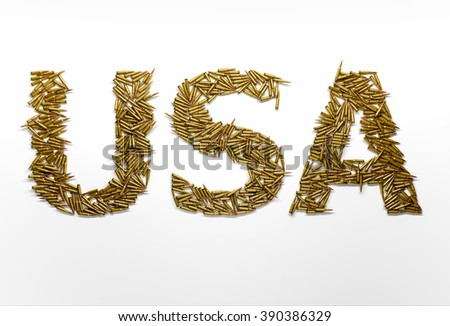 Concept of USA military aggression. Word USA typed with font made of bullets on white background - stock photo