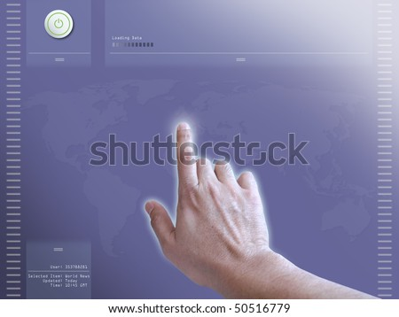 Concept of user interaction on a touch screen monitor - stock photo
