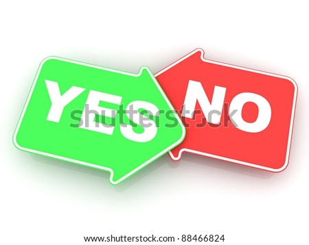 "Concept of voting: green and red  arrows with a words ""Yes"" and ""No"" - stock photo"