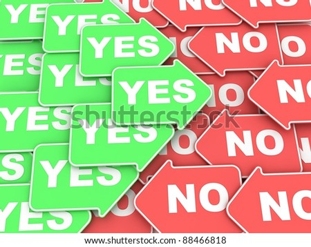 "Concept of voting: some green and red  arrows with a words ""Yes"" and ""No"" - stock photo"
