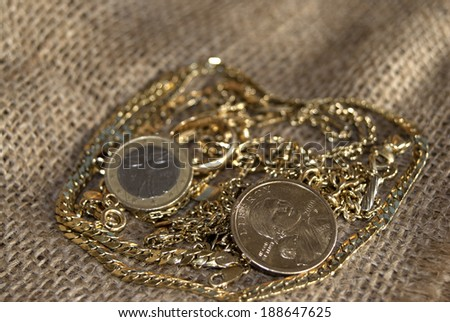 Concept of wealth: money and gold for a conceptual image