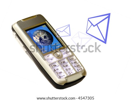 Concept of wireless connection anywhere in the world, receiving emails, documents, etc. on a Cellphone. - stock photo
