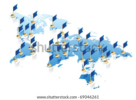 Concept of World map and flags. Raster version. Vector version is also available. - stock photo
